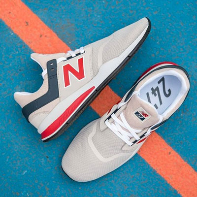 pair of newbalance shoes
